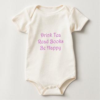 Body Para Bebê O chá da bebida leu livros esteja feliz