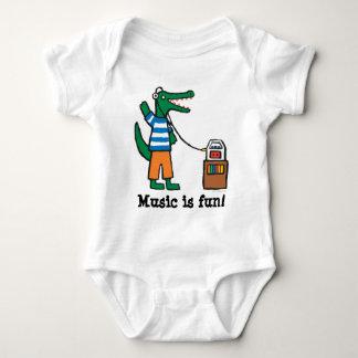 Body Para Bebê O crocodilo legal escuta a música