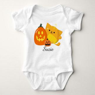 Body Para Bebê O Dia das Bruxas customizável - gato da abóbora