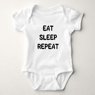 Body Para Bebê O doce bonito come o texto da repetição do sono
