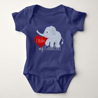 """Body Para Bebê O elefante com coração declara, """"eu amo meu"""