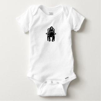 Body Para Bebê O homem amordaçou acorrentado ao Woodcut grande da