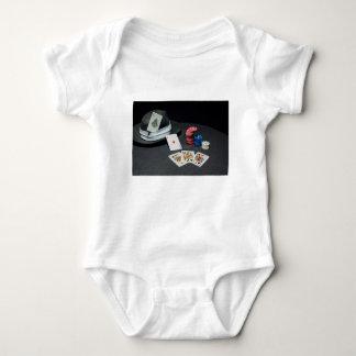 Body Para Bebê O póquer carda o chapéu do gângster