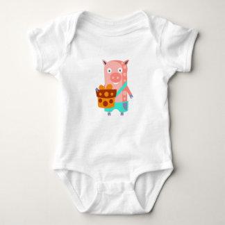 Body Para Bebê O porco com partido atribui Funky estilizado