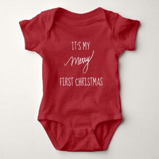 Body Para Bebê O primeiro Natal   do bebê Natal vermelho & do
