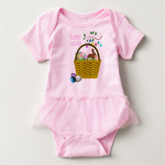 Body Para Bebê O rosa da cesta do coelho de felz pascoa contornou
