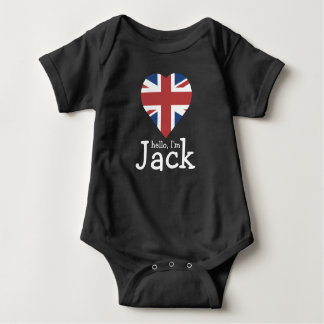 Body Para Bebê Olá! eu sou Jack! Bandeira Reino Unido do coração