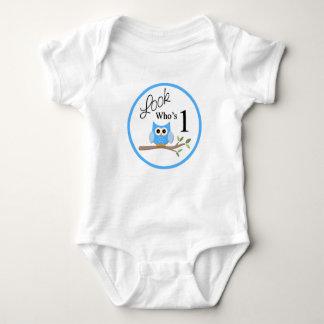 Body Para Bebê Olhe quem é um Bodysuit azul da coruja