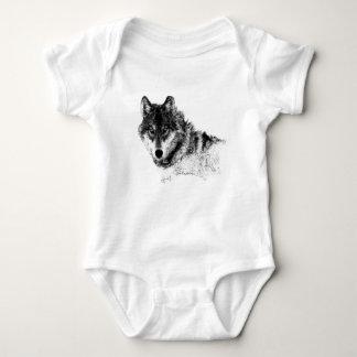 Body Para Bebê Olhos inspirados brancos pretos do lobo