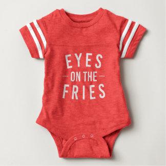 Body Para Bebê Olhos no T do bebê do futebol das fritadas