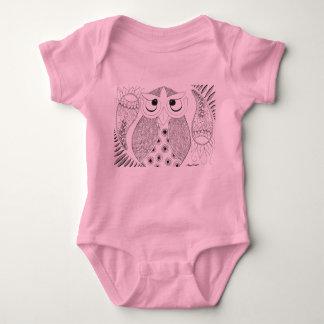 Body Para Bebê Onsie do rosa da coruja de Annie