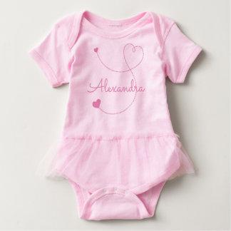 Body Para Bebê Os corações cor-de-rosa de Swirly personalizam-no