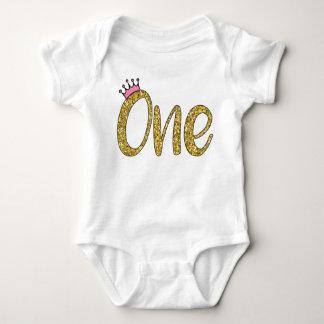 Body Para Bebê Ouro cor-de-rosa da coroa um Bodysuit