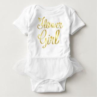 Body Para Bebê Ouro do florista e tutu branco