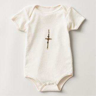 Body Para Bebê Ouro transversal do Jesus Cristo horizontal