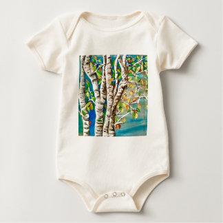 "Body Para Bebê "" Outono Birches"". Acrílicos e pai do"