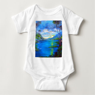 Body Para Bebê Palmas tropicais azuis