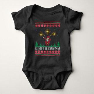 Body Para Bebê Papai noel 12 solhas da camisola feia do Xmas do