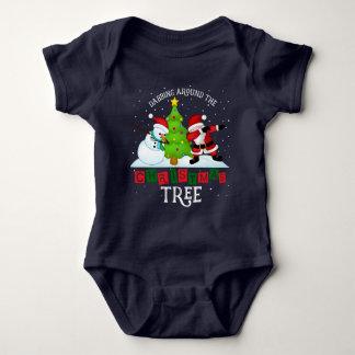 Body Para Bebê Papai noel engraçado do Natal que toca o t-shirt