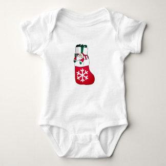 Body Para Bebê Papai Noel pequeno feliz bonito na peúga