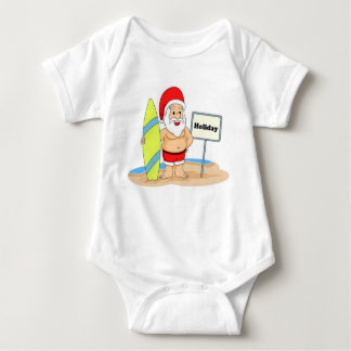 Body Para Bebê Papai noel surfando