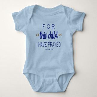 Body Para Bebê Para esta criança eu prayed, pia batismal azul