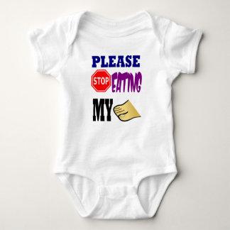 Body Para Bebê Pare de por favor comer meus dedos do pé