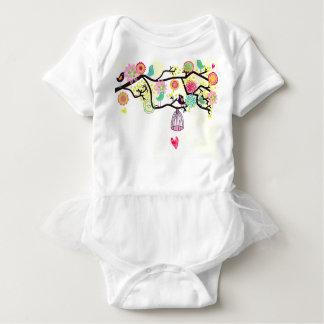 Body Para Bebê Pássaros e tutu Onsie do coração