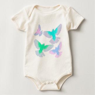 Body Para Bebê Pássaros Pastel