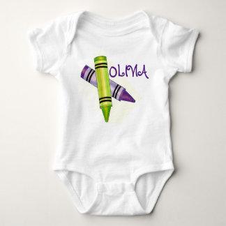 Body Para Bebê Pastéis verdes roxos personalizados da arte do