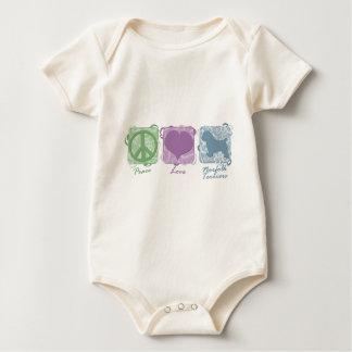 Body Para Bebê Paz, amor, e terrier de Norfolk Pastel