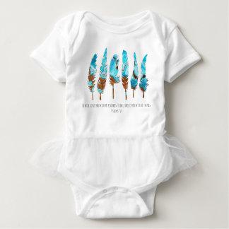 Body Para Bebê Penas do redemoinho do Aqua & do bronze