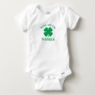 Body Para Bebê Personalizado beije-me o dia de St Patrick