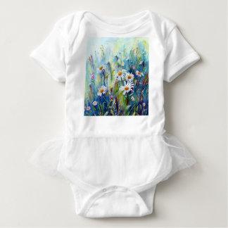 Body Para Bebê Pintura da aguarela do campo da margarida