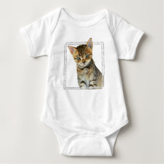 Body Para Bebê Pintura do gatinho do gato malhado com quadro de