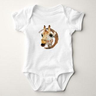 Body Para Bebê Pintura do girafa com quadro do círculo do ouro do