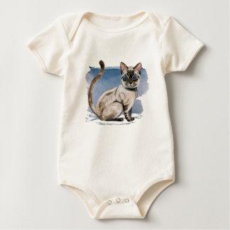 Body Para Bebê Pintura Siamese da aguarela do gatinho
