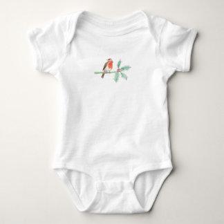 Body Para Bebê Pisco de peito vermelho vermelho do Natal no