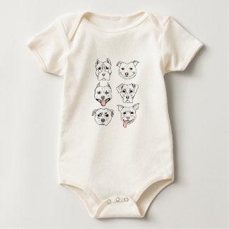 """Body Para Bebê """"Pittie Pittie por favor!"""" Caras do cão"""