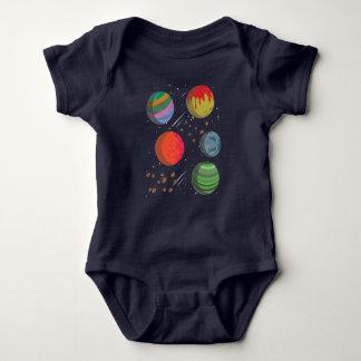 Body Para Bebê Planetas coloridos no espaço