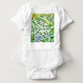 Body Para Bebê Pop art abstrato da folha no verde branco e no pó