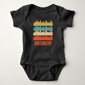 Body Para Bebê Pop art retro da skyline da DM de Baltimore