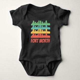 Body Para Bebê Pop art retro da skyline de Fort Worth TX