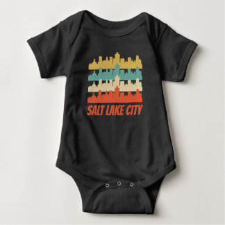 Body Para Bebê Pop art retro da skyline de Salt Lake City UT
