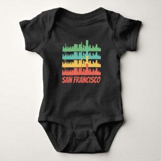 Body Para Bebê Pop art retro da skyline de San Francisco CA