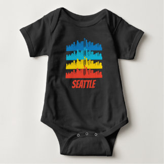 Body Para Bebê Pop art retro da skyline de Seattle WA