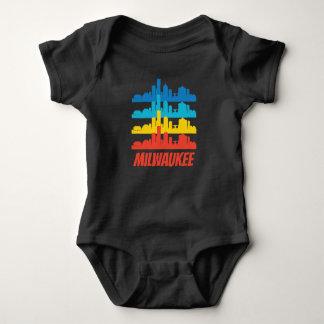 Body Para Bebê Pop art retro da skyline dos WI de Milwaukee