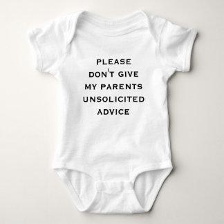 Body Para Bebê por favor não dê a meus pais o conselho espontâneo