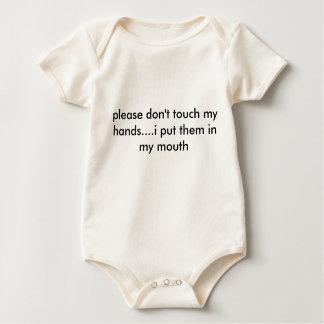 Body Para Bebê por favor não toque em minhas mãos….eu pôr os no