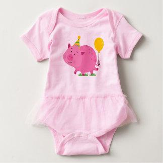 Body Para Bebê Porco cor-de-rosa da festa de aniversário